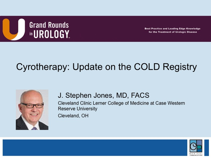 Dr  J  Stephen Jones   Cryotherapy: International COLD Registry Update