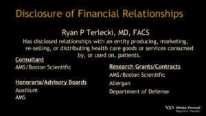 Disclosure of Financial Relationships Terlecki