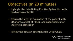Erectile Dysfunction CVD Objectives