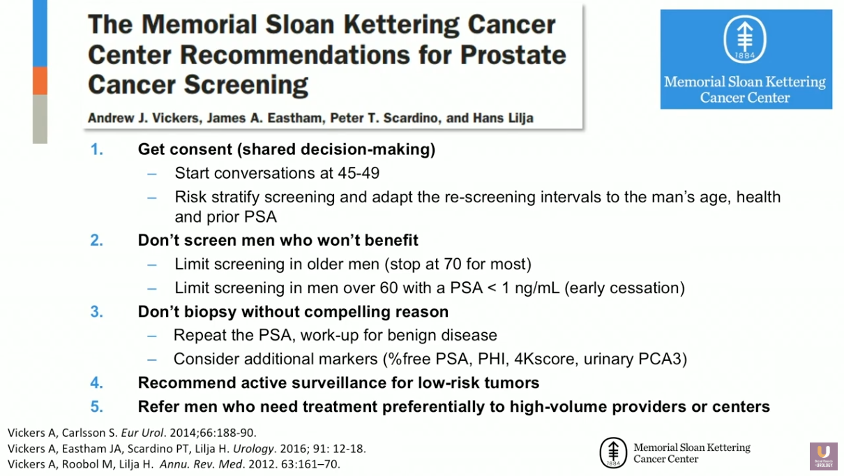 Prostate Cancer and Early Detection: NCCN and MSKCC Guidelines