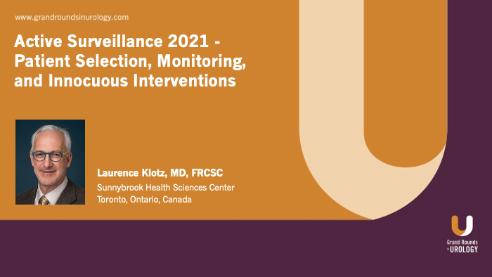 Dr. Klotz - Active Surveillance Selection Monitoring